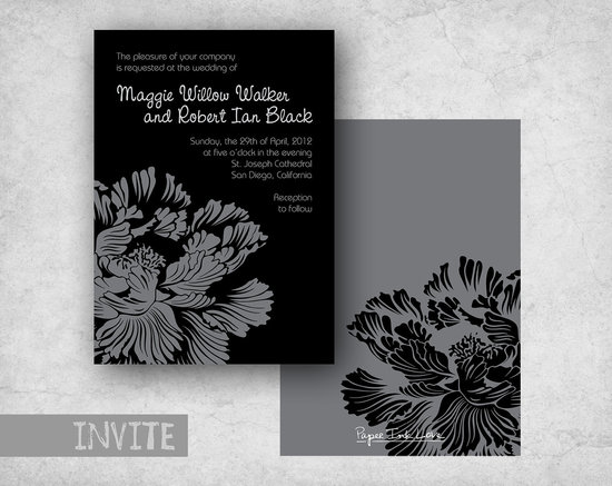 wedding invitations for modern weddings Etsy wedding finds black gray floral