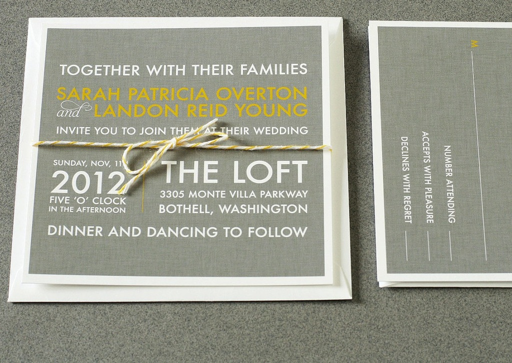 wedding invitations for modern weddings Etsy wedding finds gray yellow ivory
