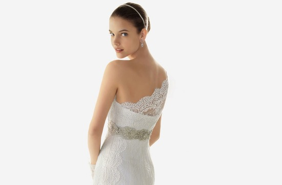 2013 wedding dresses beautiful statement backs by Rosa Clara lace one shoulder with belt