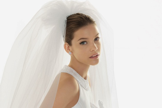 natural bridal beauty tulle wedding veil