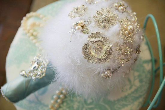 pearl wedding accessories handmade Etsy wedding finds feather bouquet 3