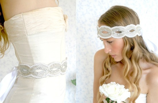 pearl wedding accessories handmade Etsy wedding finds headband sash