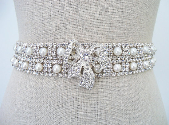 pearl wedding accessories handmade Etsy wedding finds rhinestone pearl sash