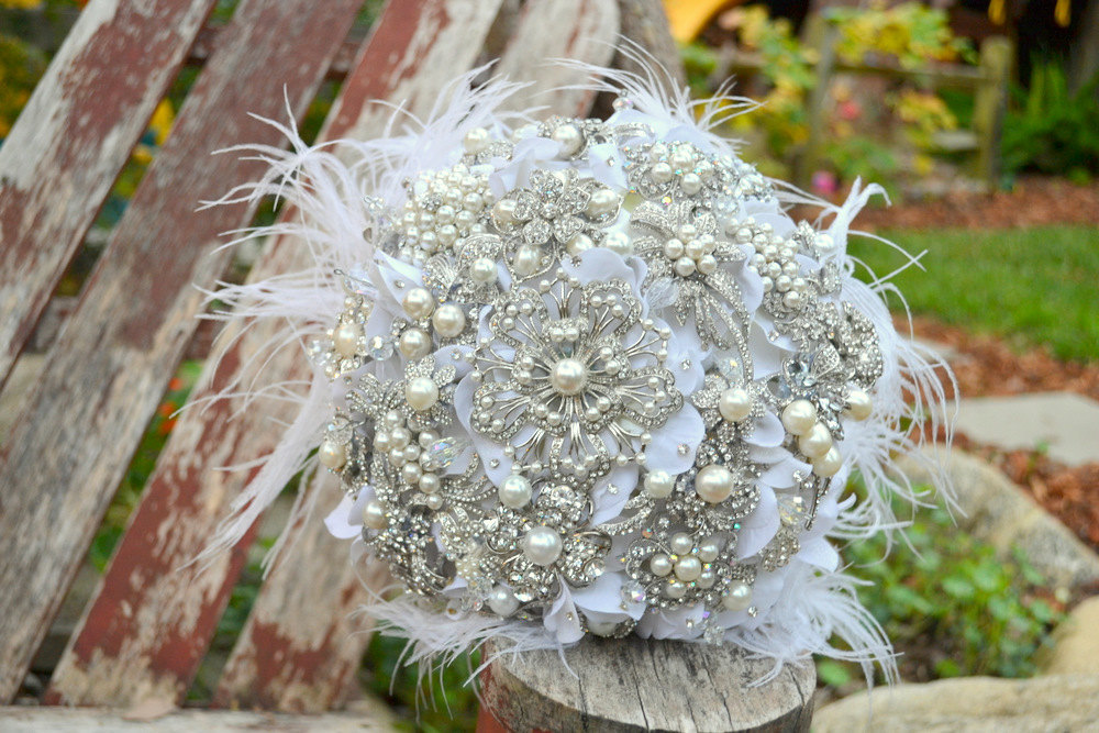 pearl wedding accessories handmade Etsy wedding finds pearl feather brooch bouquet