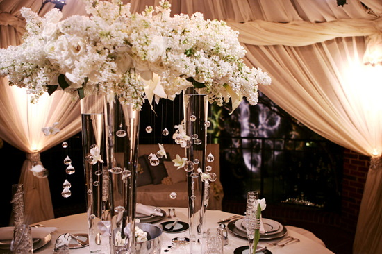 ivory wedding flowers elegant tent wedding venue