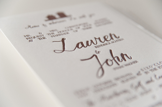 photo of rustic country wedding invitations letterpress ivory taupe 2