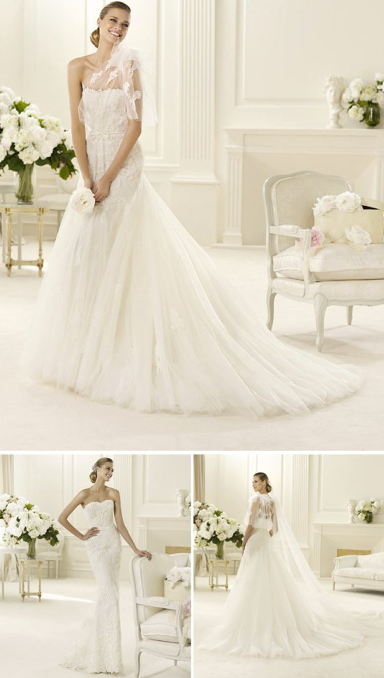 transforming wedding dresses 2013 bridal gown Manuel Mota for Pronovias lace tulle 2