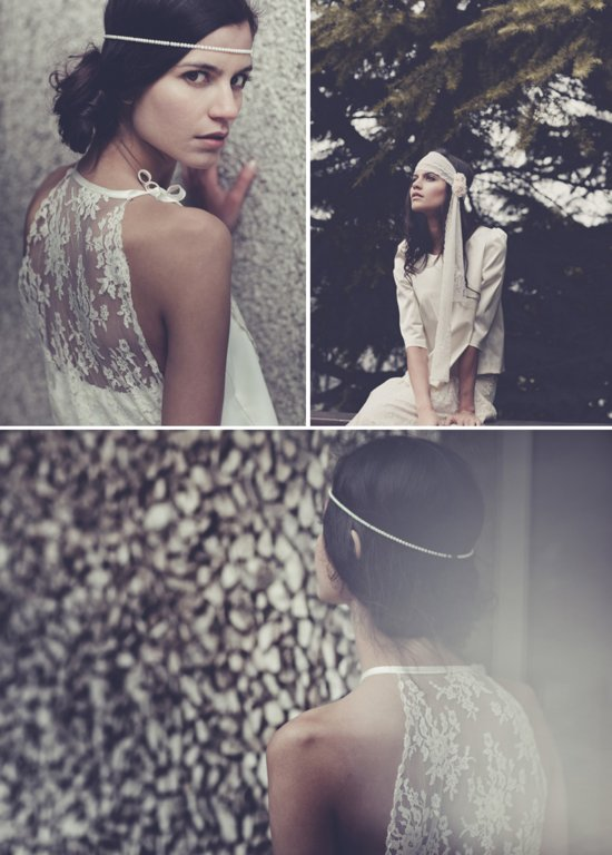 Bohemian bridal style wedding dresses and accessories Laure de Sangaza.