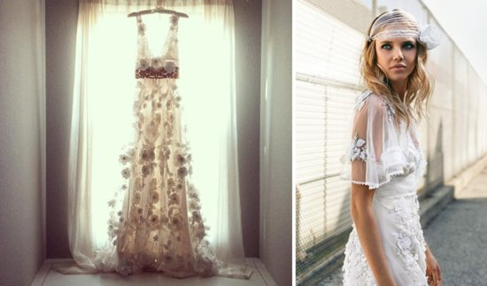 bohemian bridal style wedding dresses and accessories Claire Pettibone