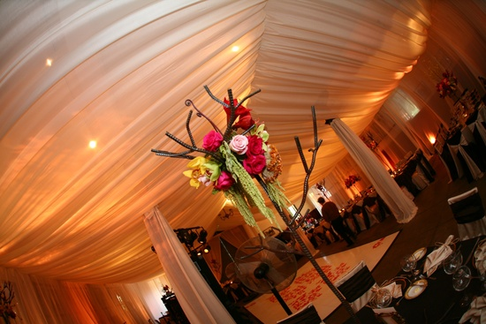 wedding details reception decor inspiration by Jerri Woolworth venue with draped ceiling