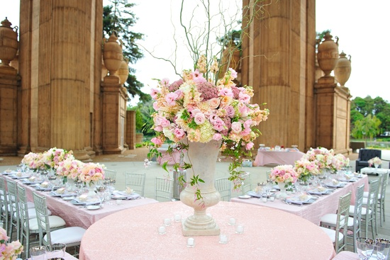 wedding details reception decor inspiration by Jerri Woolworth romantic pastel centerpiece
