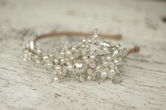 pearl crystal bridal headband by Parant Parant