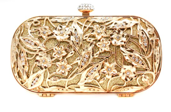 gold bridal clutch inspired by Alexander McQueen