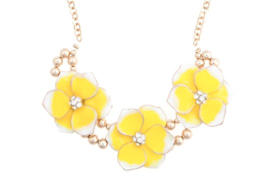 yellow white gold statement necklace