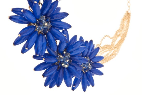 cobalt blue wedding necklace statement bridal jewelry