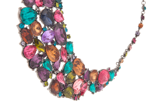wedding jewelry for glamourous brides statement necklace colorful gems