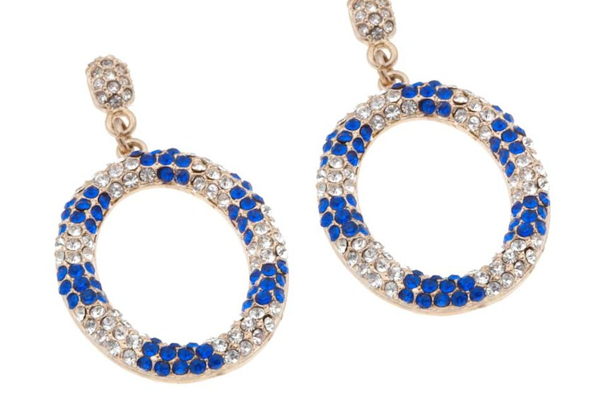 blue gold bridal earrings statement wedding jewelry