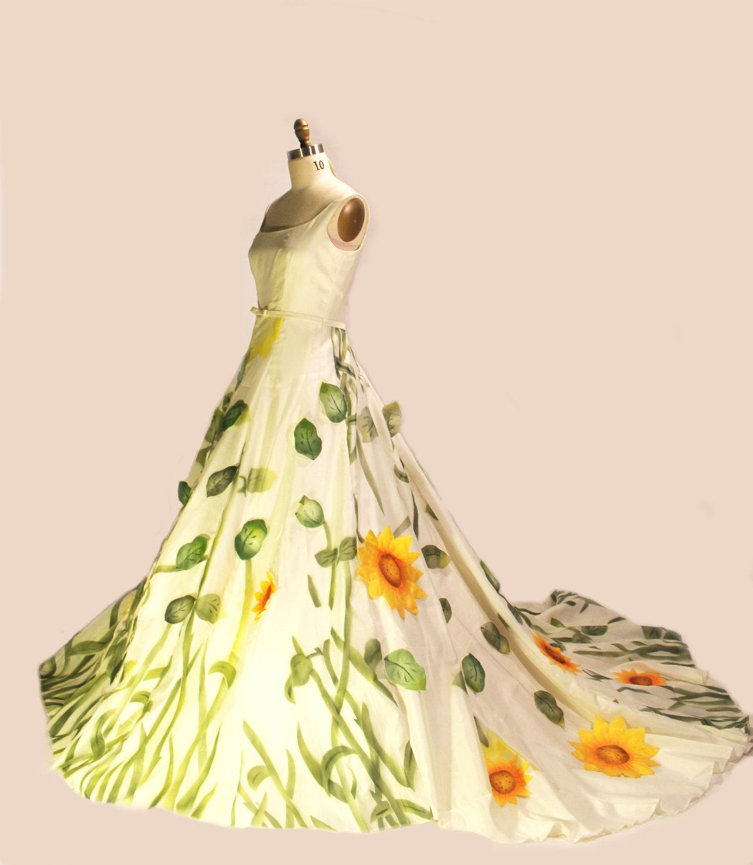 Non White Wedding Dresses: Unique Wedding Dresses Non White Bridal Gown Sunflowers