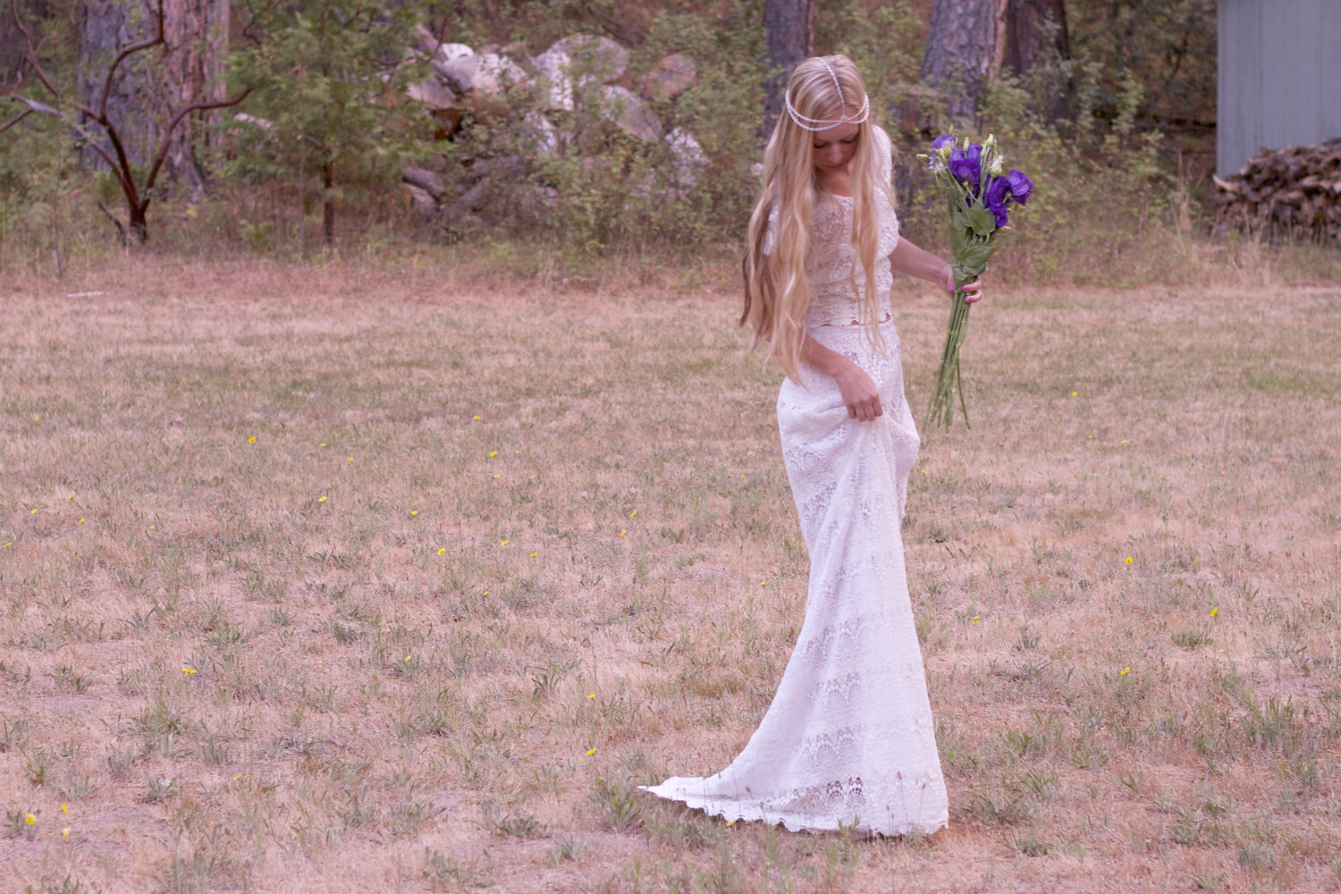bohemian bride lace wedding dress