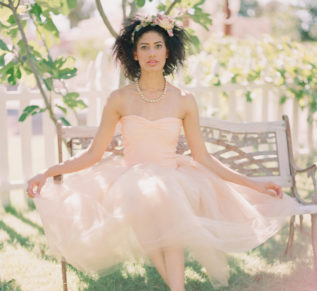 Unique-wedding-dresses-non-white-bridal-gown-peach-tea-length.full