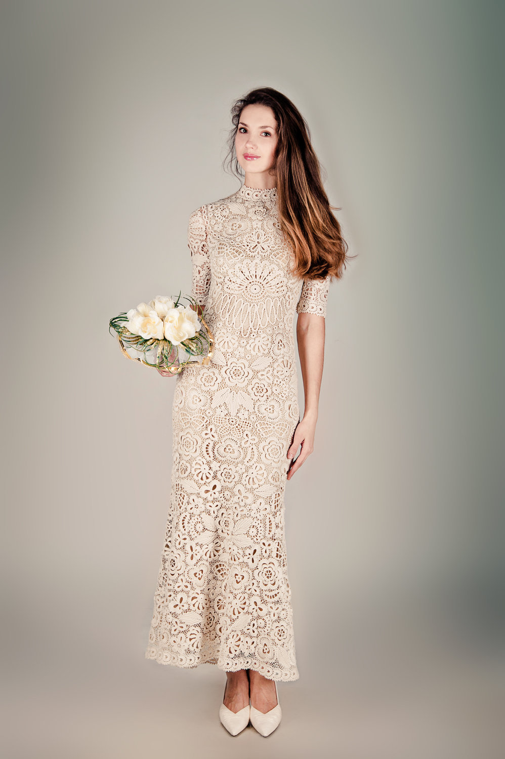unique wedding dresses non white bridal gown beige crochet