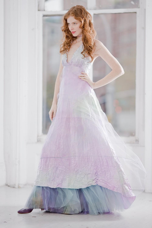 Unique wedding dresses non white bridal gown pastel ombre for Non wedding dresses for brides