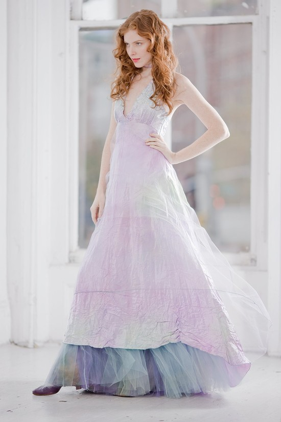 unique wedding dresses non white bridal gown pastel ombre