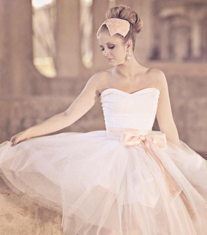 Unique wedding dresses non white bridal gown ballerina for Wedding dresses white and pink