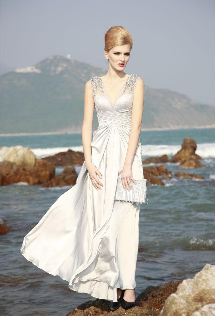 Unique wedding dresses non white bridal gown silk silver 1 for Non wedding dresses for brides