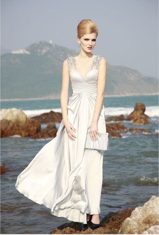 unique wedding dresses non white bridal gown silk silver 1