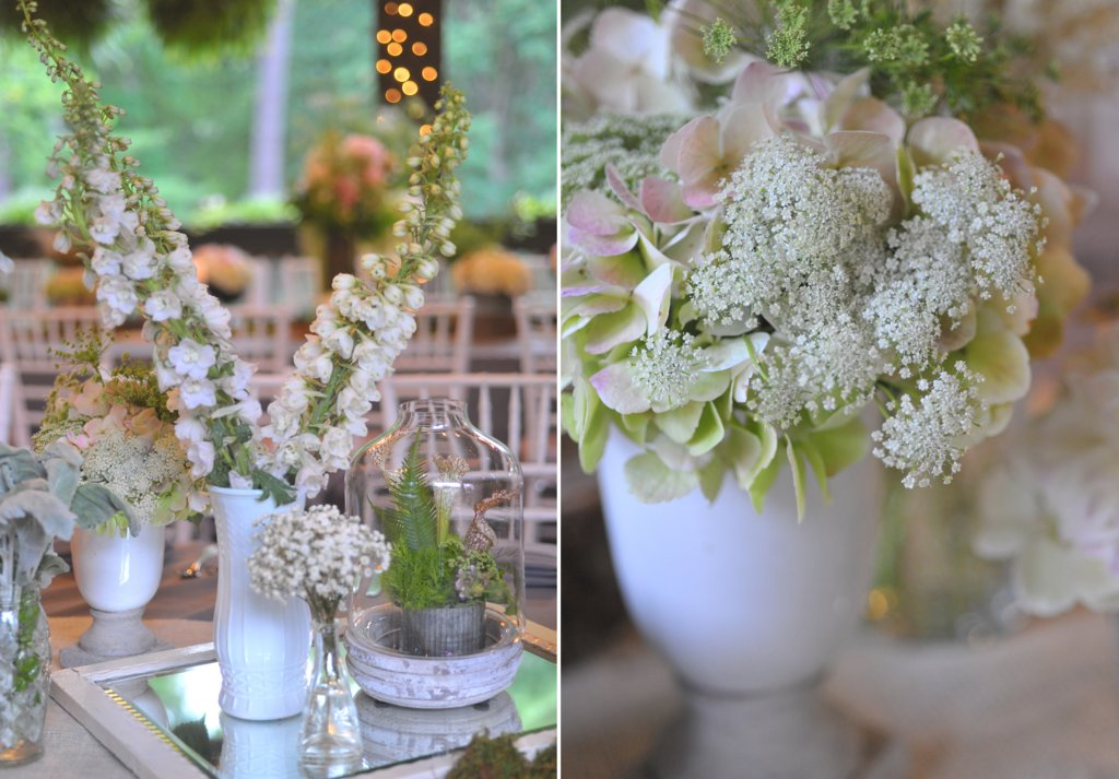 romantic north carolina wedding reception flowers centerpieces