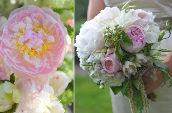 romantic wedding flowers light pink peony bridal bouquet