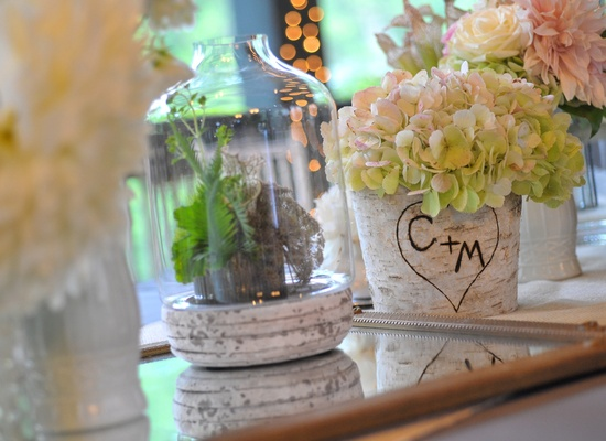 elegant real wedding North Carolina wedding photographers rustic romantic terrariums