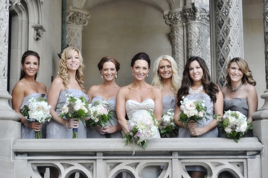 elegant real wedding North Carolina wedding photographers bride with bridesmaids
