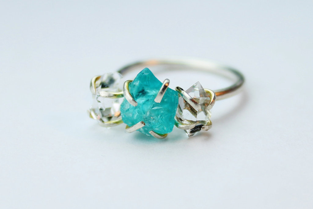 engagement rings wedding jewelry with rough herkimer stone blue