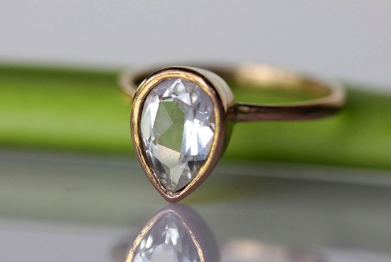 unique diamond engagement rings wedding jewelry with rough Herkimer stone pear shaped