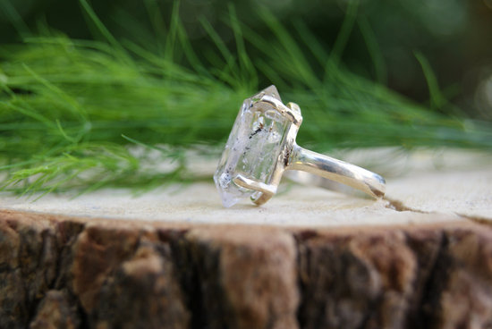 unique diamond engagement rings wedding jewelry with rough Herkimer stone 5