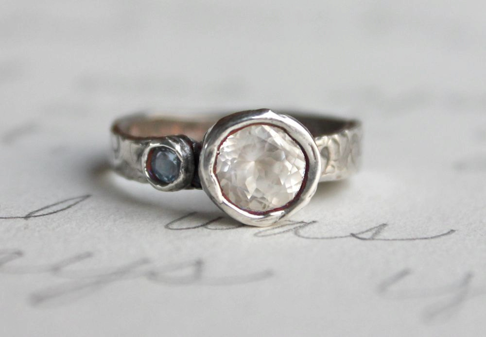 Unique Diamond Engagement Rings Wedding Jewelry With Rough Herkimer Stones Recycled