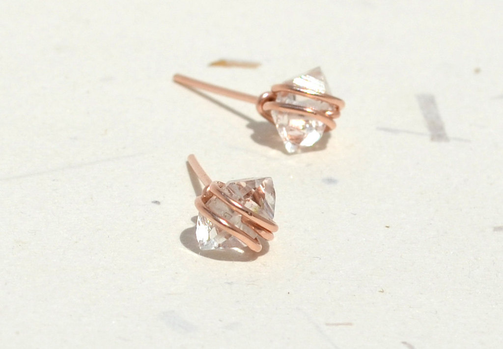 Unique-diamond-engagement-rings-wedding-jewelry-with-rough-herkimer-stones-rose-gold-earrings.full