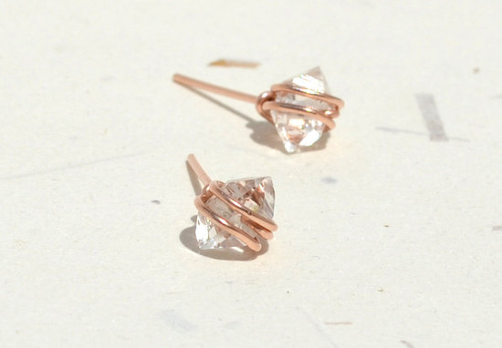 unique diamond engagement rings wedding jewelry with rough Herkimer stones rose gold earrings