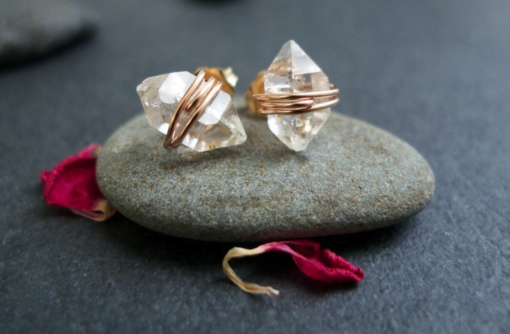 unique diamond engagement rings wedding jewelry with rough Herkimer stones earrings rose gold