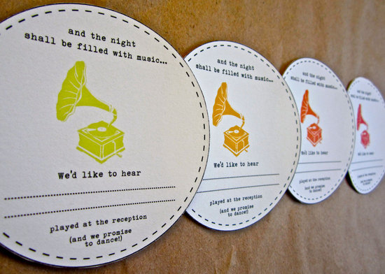 Music themed wedding accessories ceremony reception decor song request card.