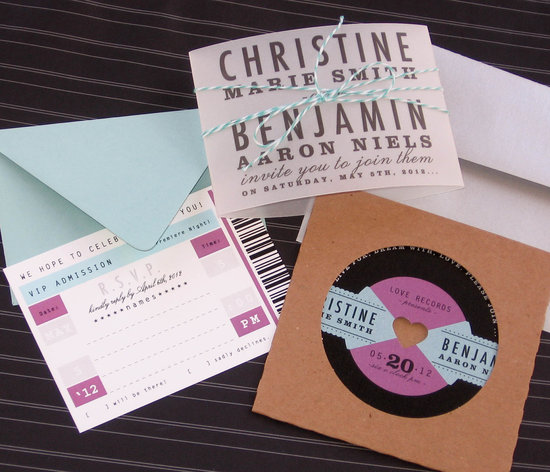 music themed wedding accessories ceremony reception decor retro vintage invitation