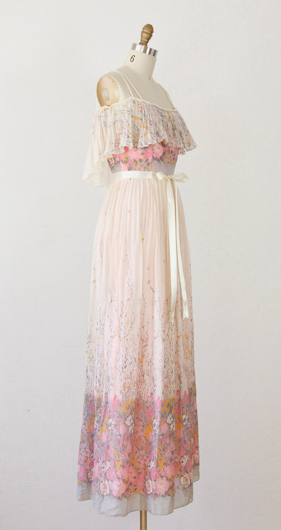 Vintage wedding dress bridal gown inspiration from Etsy floral pink ivory.