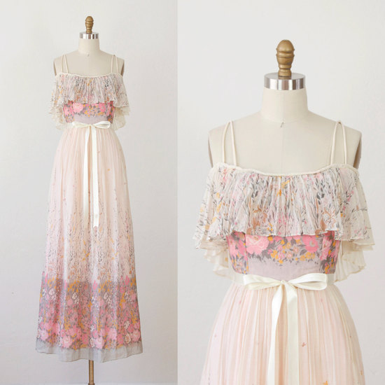 vintage wedding dress bridal gown inspiration from Etsy floral pink ivory