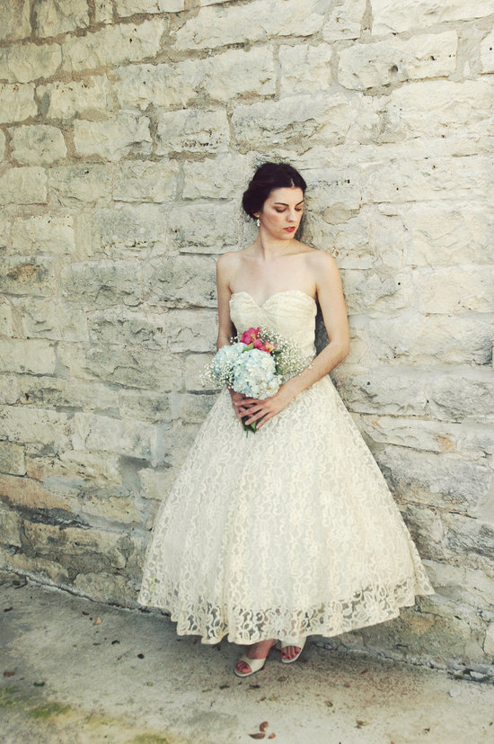 Vintage wedding dress bridal gown inspiration from Etsy 1950s tea length.