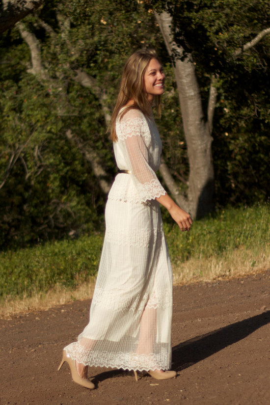 vintage wedding dress bridal gown inspiration from Etsy ivory lace with sleeves