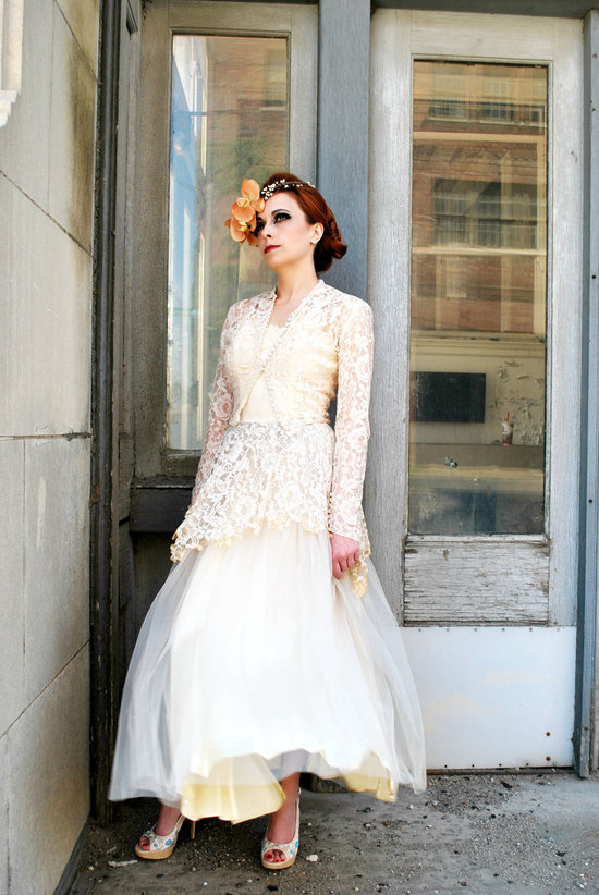 Vintage wedding dress bridal gown inspiration from Etsy 1920s ivory beige.