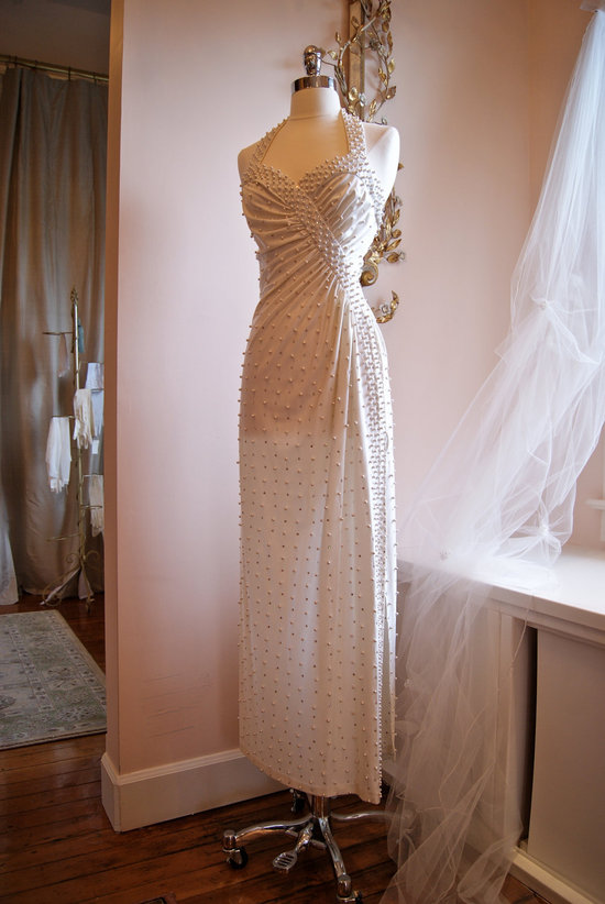 Vintage wedding dress bridal gown inspiration from Etsy 1970 s pearlized halter.