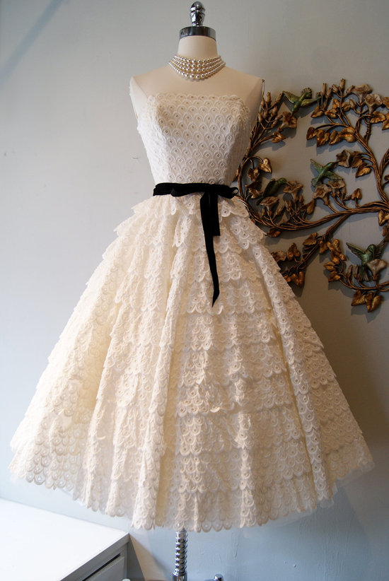 Vintage wedding dress bridal gown inspiration from Etsy lace eyelit 1950s black sash.